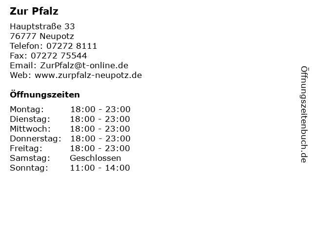 Zur Pfalz in Neupotz: Adresse und Öffnungszeiten