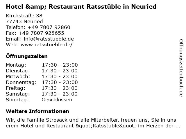 Hotel & Restaurant Ratsstüble in Neuried in Neuried: Adresse und Öffnungszeiten