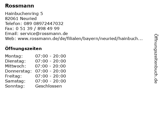 Rossmann in Neuried: Adresse und Öffnungszeiten