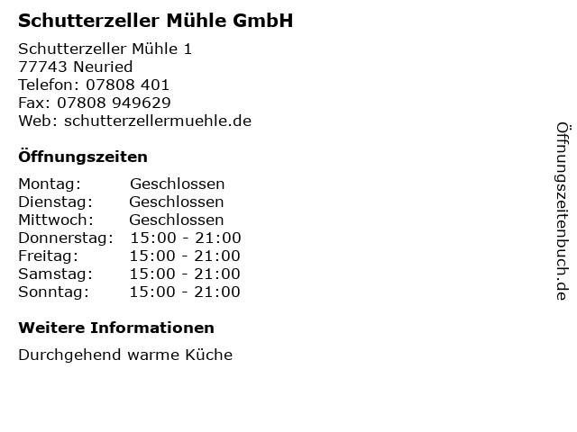 Schutterzeller Mühle GmbH in Neuried: Adresse und Öffnungszeiten