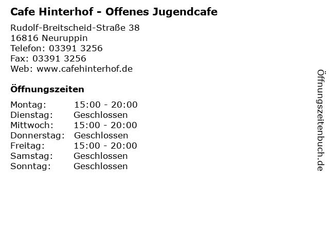 ᐅ Offnungszeiten Cafe Hinterhof Offenes Jugendcafe
