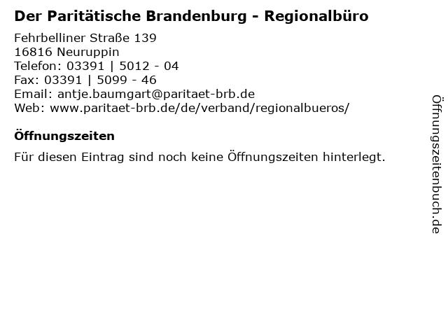 Der Paritätische Brandenburg - Regionalbüro in Neuruppin: Adresse und Öffnungszeiten