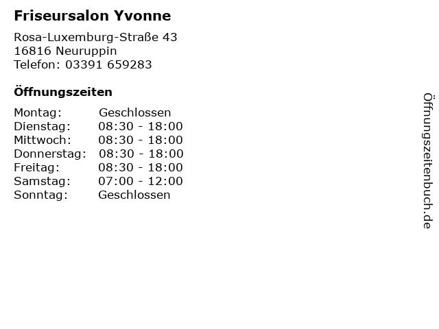 Friseursalon Yvonne in Neuruppin: Adresse und Öffnungszeiten