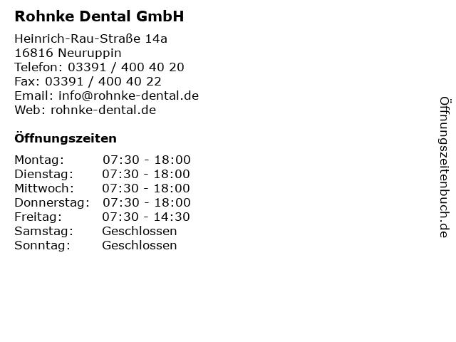 Rohnke Dental GmbH in Neuruppin: Adresse und Öffnungszeiten
