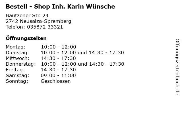 Bestell - Shop Inh. Karin Wünsche in Neusalza-Spremberg: Adresse und Öffnungszeiten