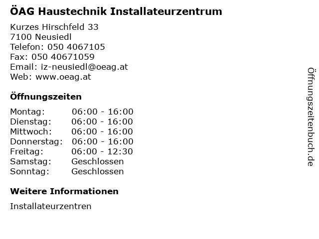 ÖAG Haustechnik Installateurzentrum in Neusiedl: Adresse und Öffnungszeiten