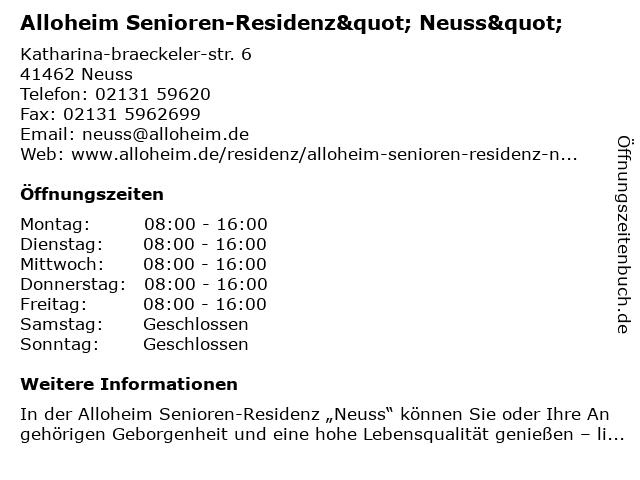 """Alloheim Senioren-Residenz"""" Neuss"""" in Neuss: Adresse und Öffnungszeiten"""