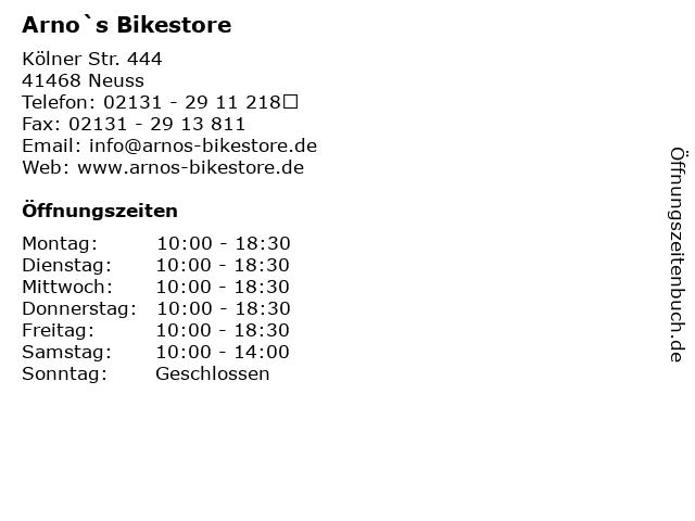 Arno`s Bikestore in Neuss: Adresse und Öffnungszeiten