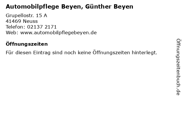 Automobilpflege Beyen, Günther Beyen in Neuss: Adresse und Öffnungszeiten