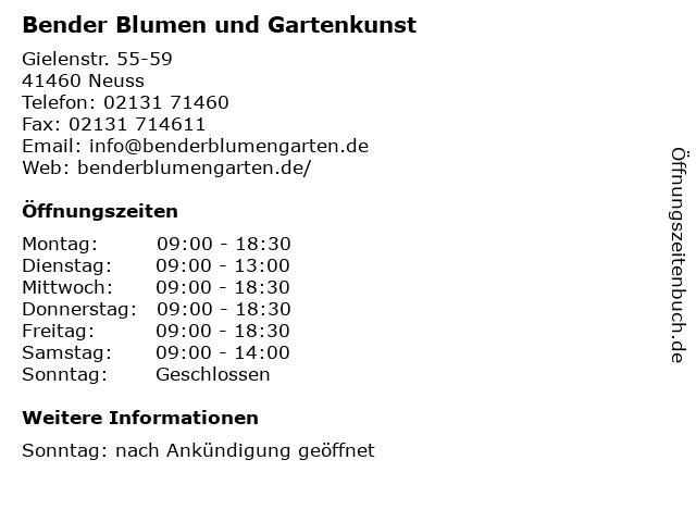 Bender Blumen und Gartenkunst in Neuss: Adresse und Öffnungszeiten