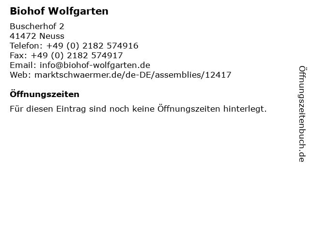 Biohof Wolfgarten in Neuss: Adresse und Öffnungszeiten