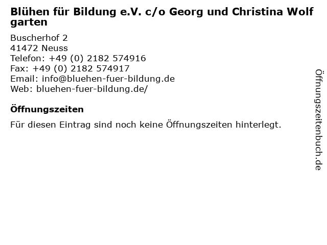 Blühen für Bildung e.V. c/o Georg und Christina Wolfgarten in Neuss: Adresse und Öffnungszeiten