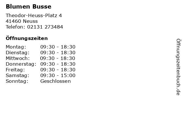 Blumen Busse in Neuss: Adresse und Öffnungszeiten