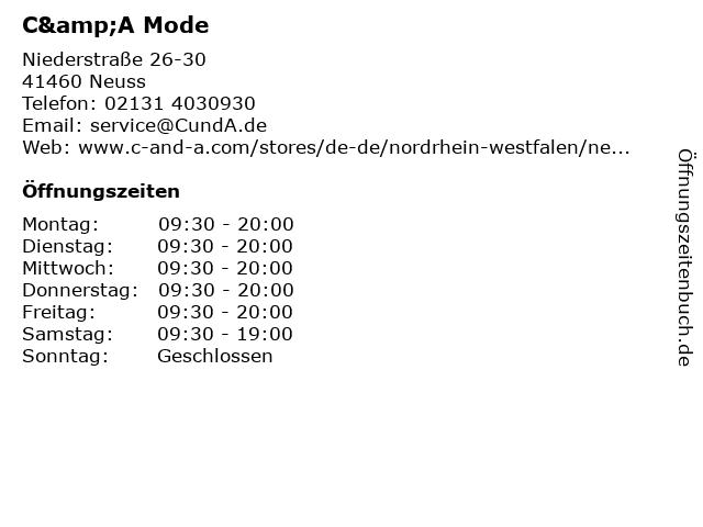 C&A Mode GmbH & Co. KG in Neuss: Adresse und Öffnungszeiten