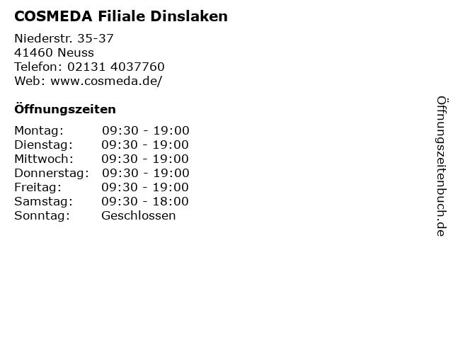 COSMEDA Filiale Dinslaken in Neuss: Adresse und Öffnungszeiten