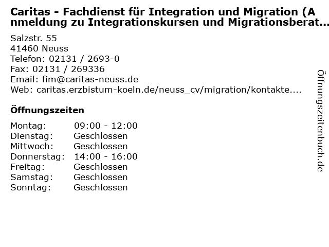 Caritas - Fachdienst für Integration und Migration (Anmeldung zu Integrationskursen und Migrationsberatung) in Neuss: Adresse und Öffnungszeiten