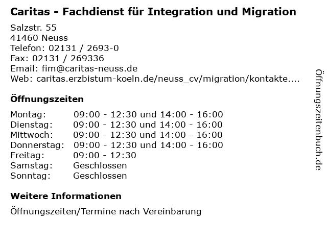 Caritas - Fachdienst für Integration und Migration in Neuss: Adresse und Öffnungszeiten
