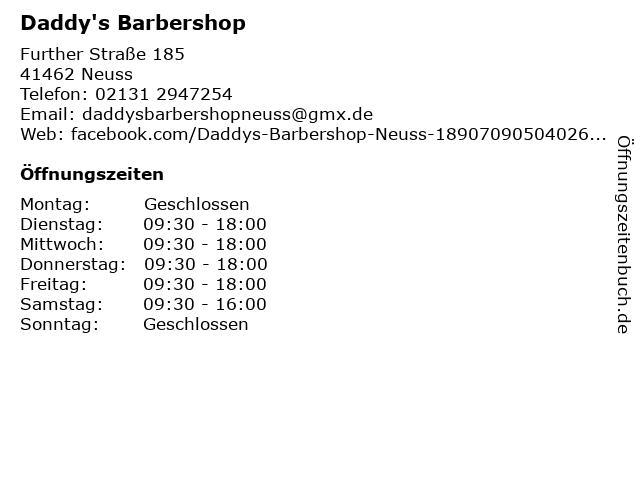Daddy's Barbershop in Neuss: Adresse und Öffnungszeiten