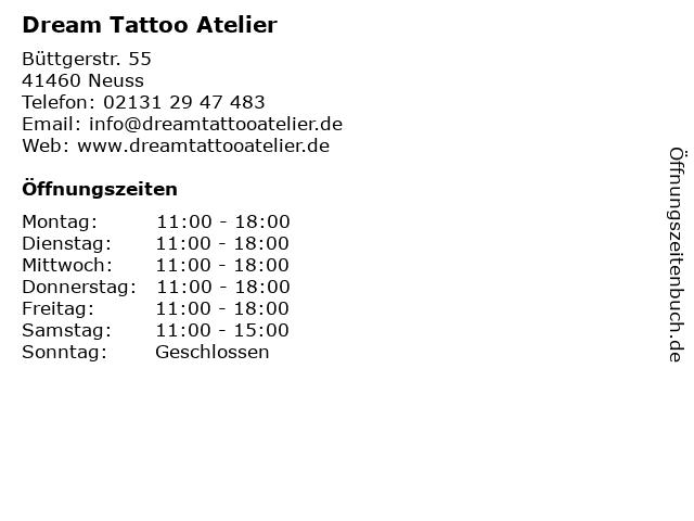 Dream Tattoo Atelier in Neuss: Adresse und Öffnungszeiten