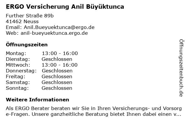 ERGO Versicherung Anil Büyüktunca in Neuss: Adresse und Öffnungszeiten