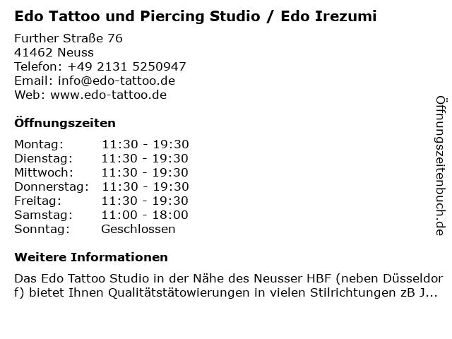Edo Tattoo und Piercing Studio / Edo Irezumi in Neuss: Adresse und Öffnungszeiten