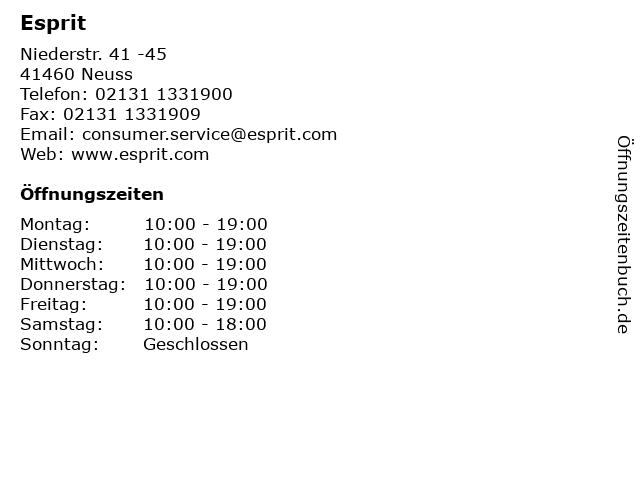 Esprit in Neuss: Adresse und Öffnungszeiten