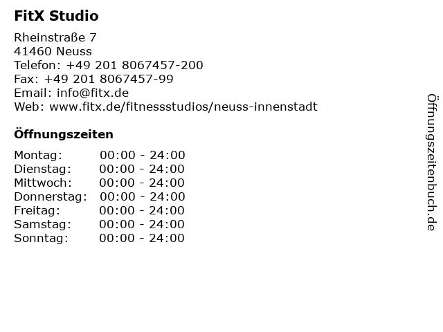FitX Studio in Neuss: Adresse und Öffnungszeiten