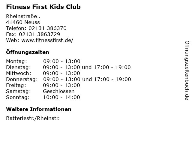 Fitness First Kids Club in Neuss: Adresse und Öffnungszeiten