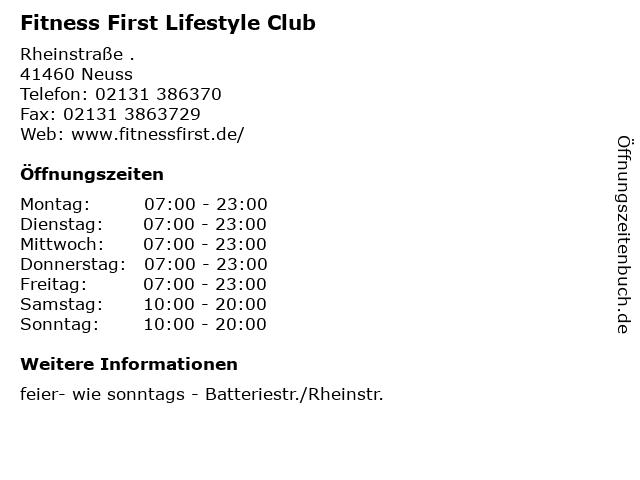 Fitness First Lifestyle Club in Neuss: Adresse und Öffnungszeiten