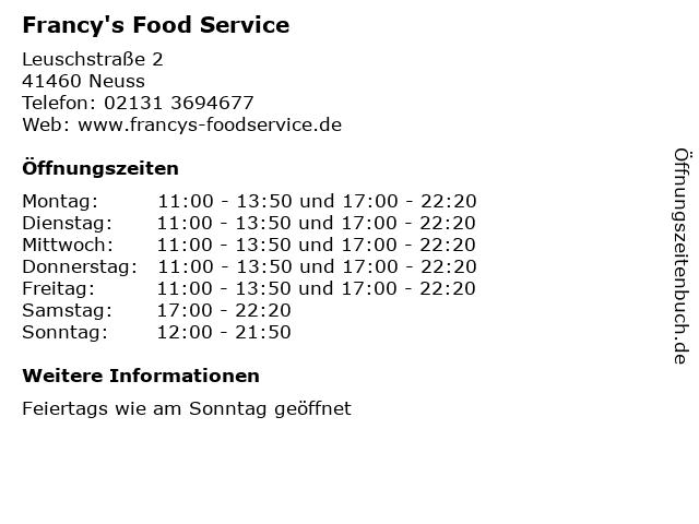 Francy's Food Service in Neuss: Adresse und Öffnungszeiten