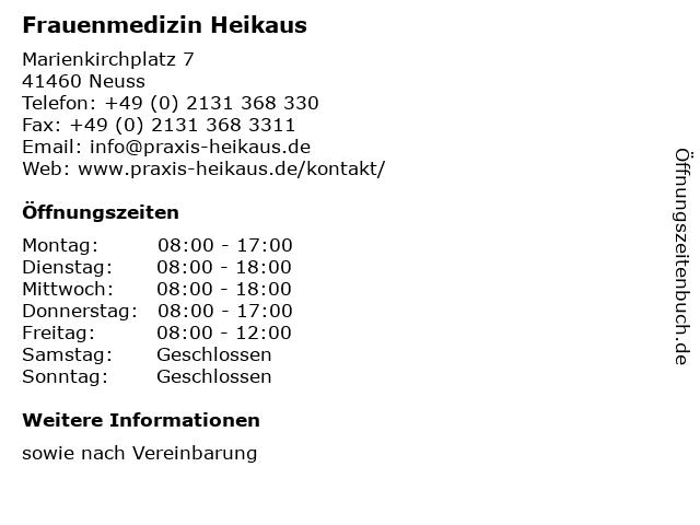 Frauenmedizin Heikaus in Neuss: Adresse und Öffnungszeiten