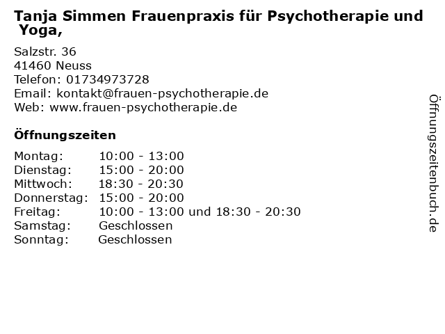 Frauenpraxis für Psycho- Yoga- und Traumatherapie, Tanja Simmen in Neuss: Adresse und Öffnungszeiten