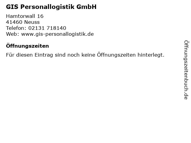 GIS Personallogistik GmbH in Neuss: Adresse und Öffnungszeiten