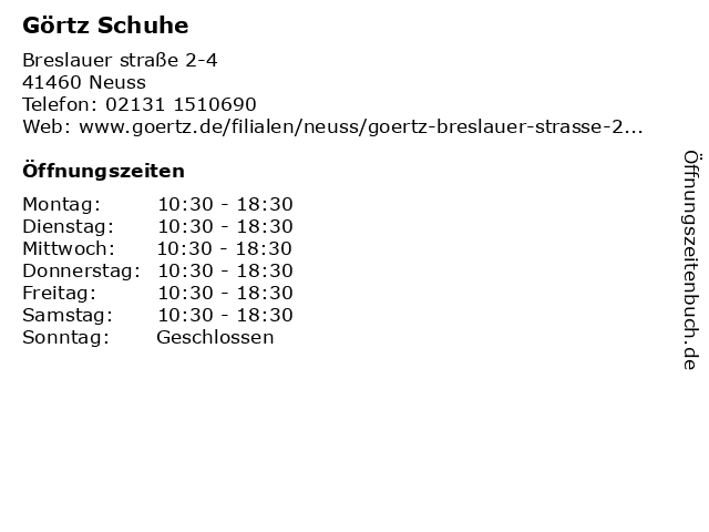 Görtz GmbH in Neuss: Adresse und Öffnungszeiten