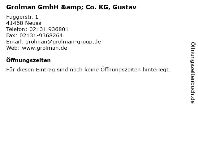 Grolman GmbH & Co. KG, Gustav in Neuss: Adresse und Öffnungszeiten