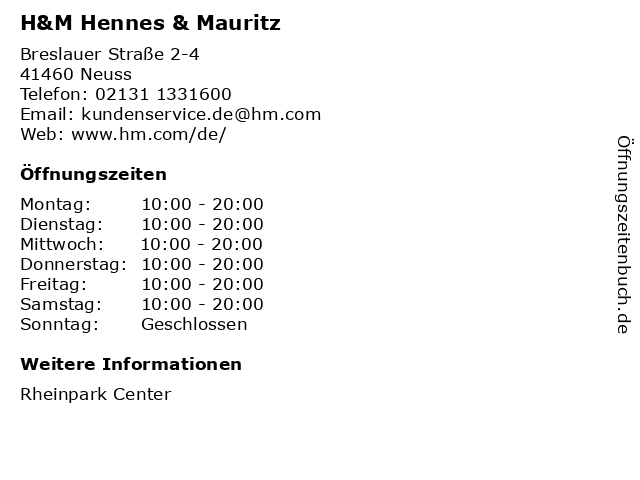 H&M Hennes & Mauritz in Neuss: Adresse und Öffnungszeiten