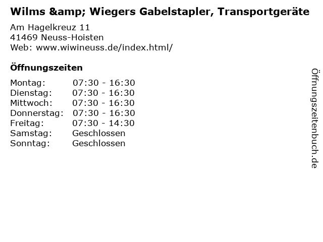 Wilms & Wiegers Gabelstapler, Transportgeräte in Neuss-Hoisten: Adresse und Öffnungszeiten