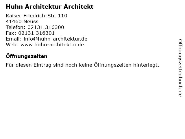 ᐅ Offnungszeiten Huhn Architektur Architekt Kaiser Friedrich