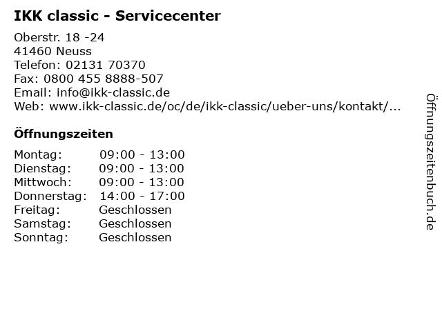 IKK classic - Servicecenter Neuss in Neuss: Adresse und Öffnungszeiten