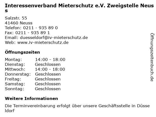 Interessenverband Mieterschutz e.V. Zweigstelle Neuss in Neuss: Adresse und Öffnungszeiten