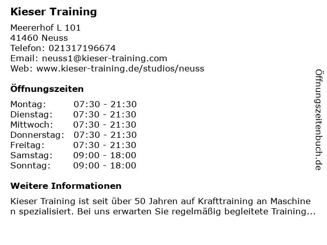 Kieser Training in Neuss: Adresse und Öffnungszeiten