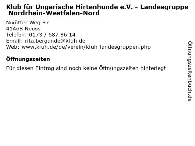 Klub für Ungarische Hirtenhunde e.V. - Landesgruppe Nordrhein-Westfalen-Nord in Neuss: Adresse und Öffnungszeiten