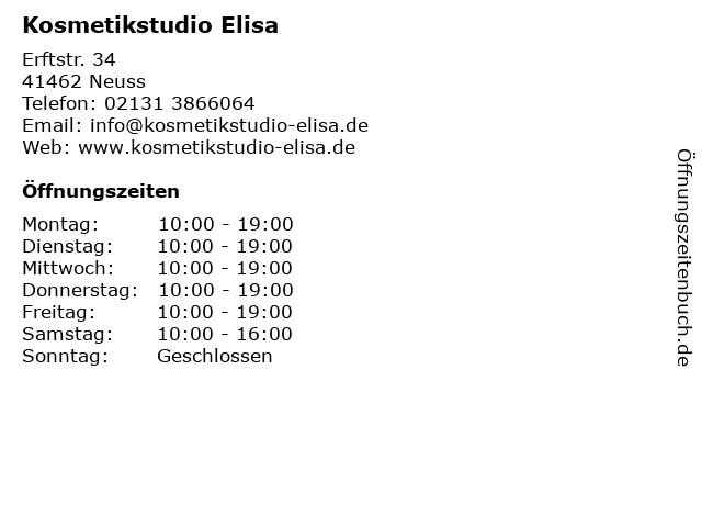 Kosmetikstudio Elisa in Neuss: Adresse und Öffnungszeiten
