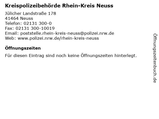 Kreispolizeibehörde Rhein-Kreis Neuss in Neuss: Adresse und Öffnungszeiten