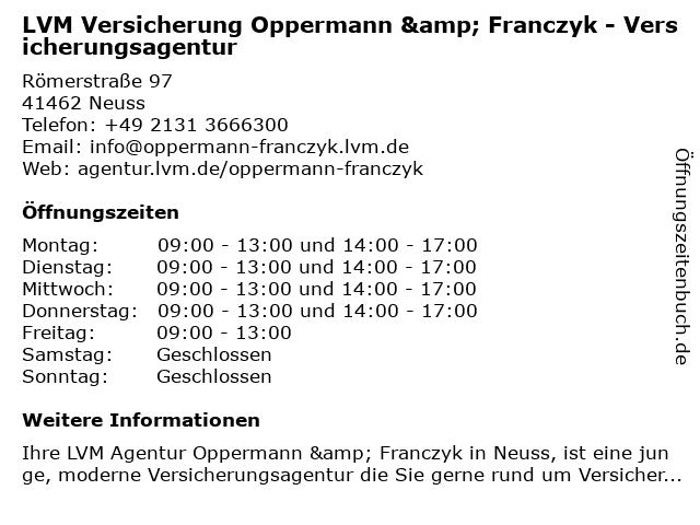 LVM Versicherung Oppermann & Franczyk - Versicherungsagentur in Neuss: Adresse und Öffnungszeiten