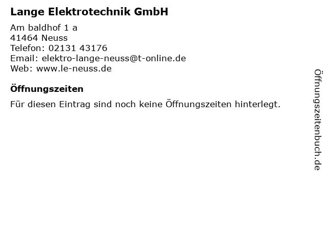 Lange Elektrotechnik GmbH in Neuss: Adresse und Öffnungszeiten