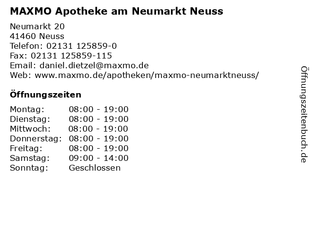 MAXMO Apotheke am Neumarkt Neuss in Neuss: Adresse und Öffnungszeiten