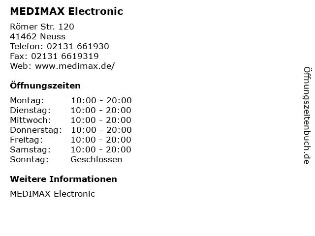 MEDIMAX Electronic in Neuss: Adresse und Öffnungszeiten