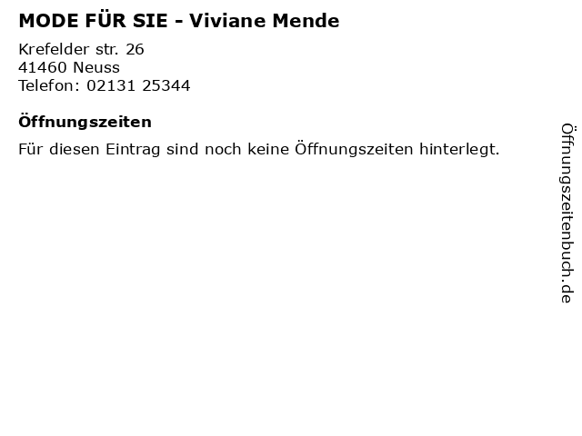 MODE FÜR SIE - Viviane Mende in Neuss: Adresse und Öffnungszeiten
