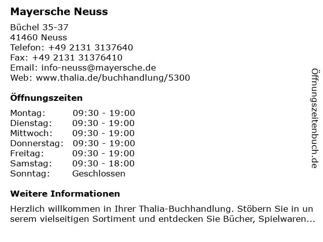 Mayersche Buchhandlung KG in Neuss: Adresse und Öffnungszeiten